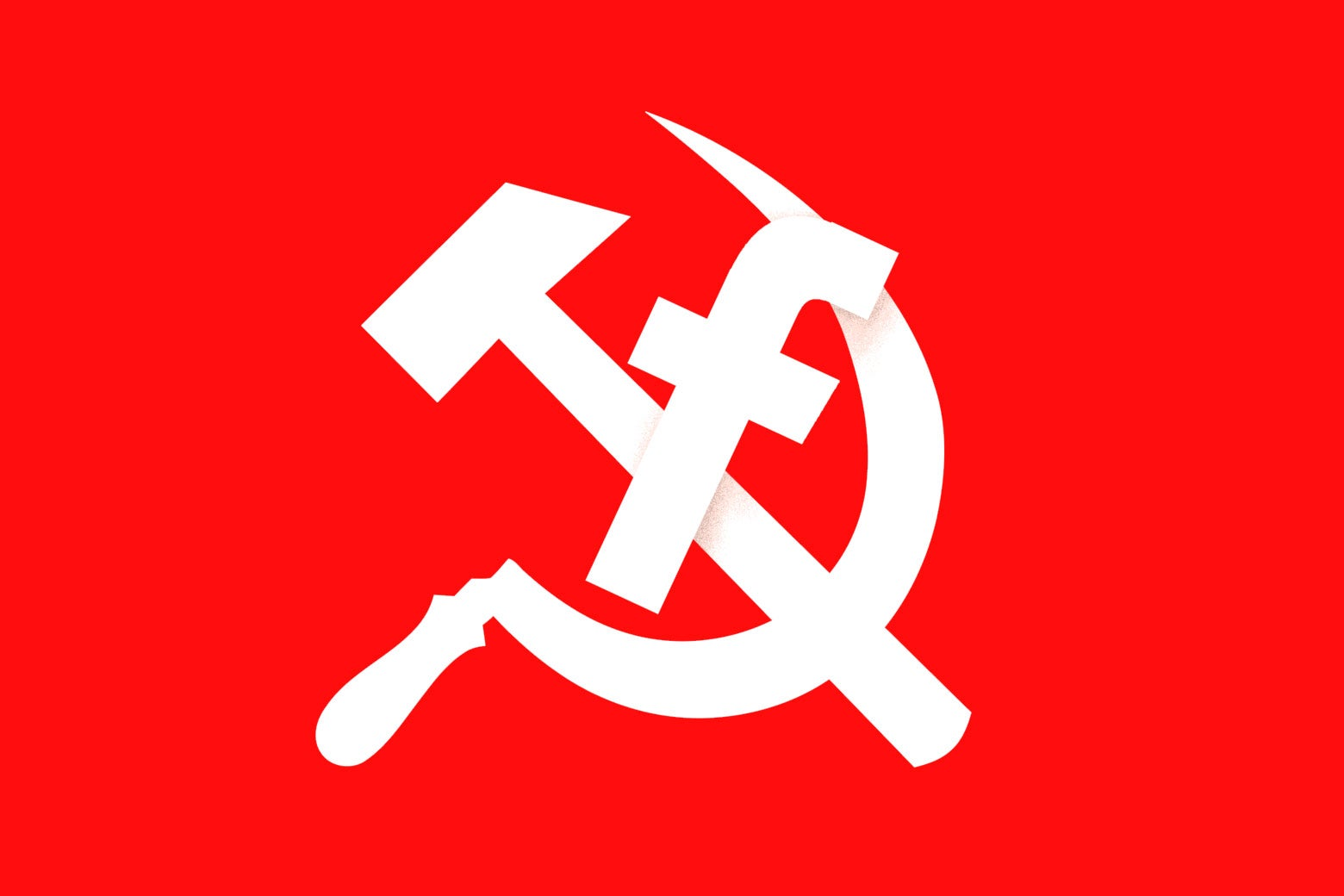 Hammer and sickle with Facebook 'F' symbol.
