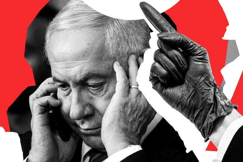 Benjamin Netanyahu on the phone.