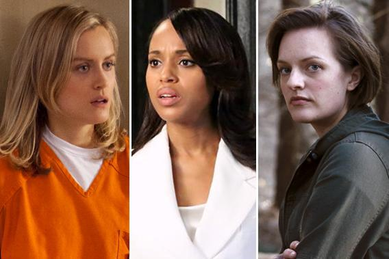 Taylor Schilling in 'Orange Is the New Black', Kerry Washington in 'Scandal', Elisabeth Moss in 'Top of the Lake.'