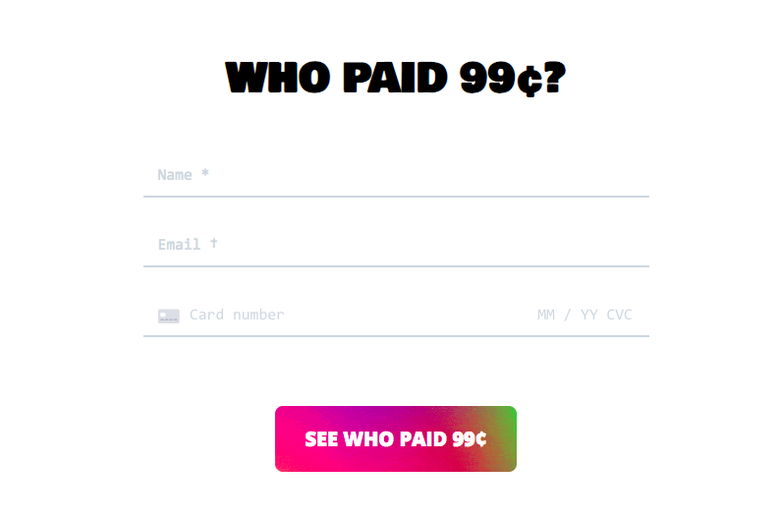 "A screenshot of the website WhoPaid99Cents.com that is a blank page that says ""Who Paid 99c?"""