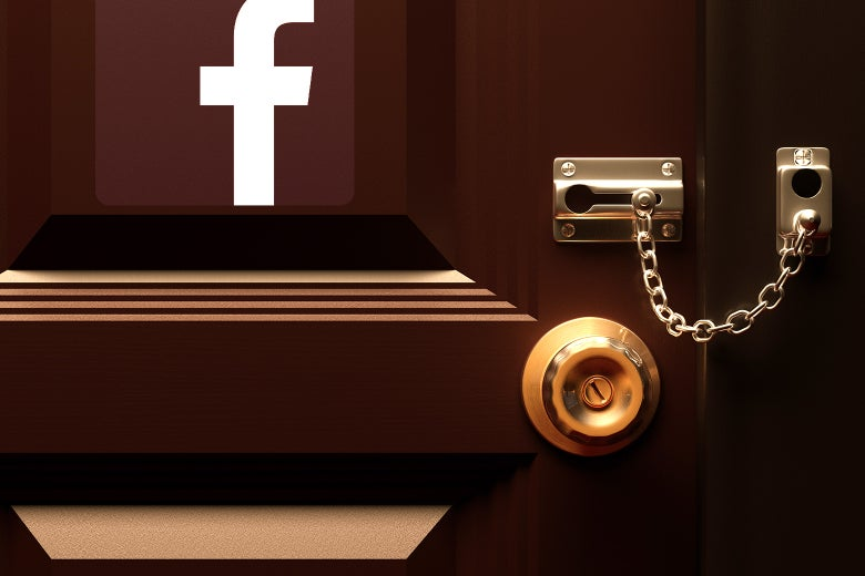 Photo illustration of a locked door with the facebook logo