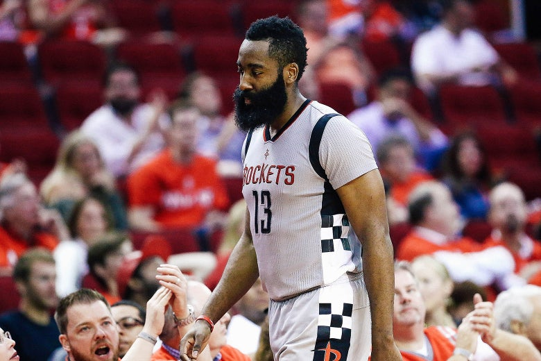 James Harden of the Houston Rockets reacts against the San Antonio Spurs during Game 6 of the NBA Western Conference semifinals at Toyota Center on May 11, 2017, in Houston.