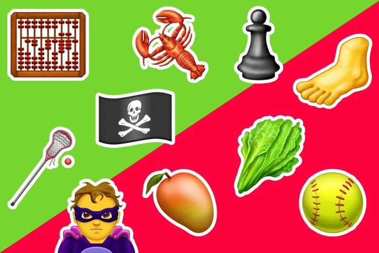 A scattering of some of the new emojis, including the pirate flag, lacrosse stick, chess piece, lobster, abacus, foot, softball, leafy greens, mango, and supervillain.