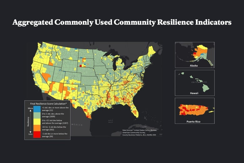 A chart showing the aggregated commonly used community resilience indicators