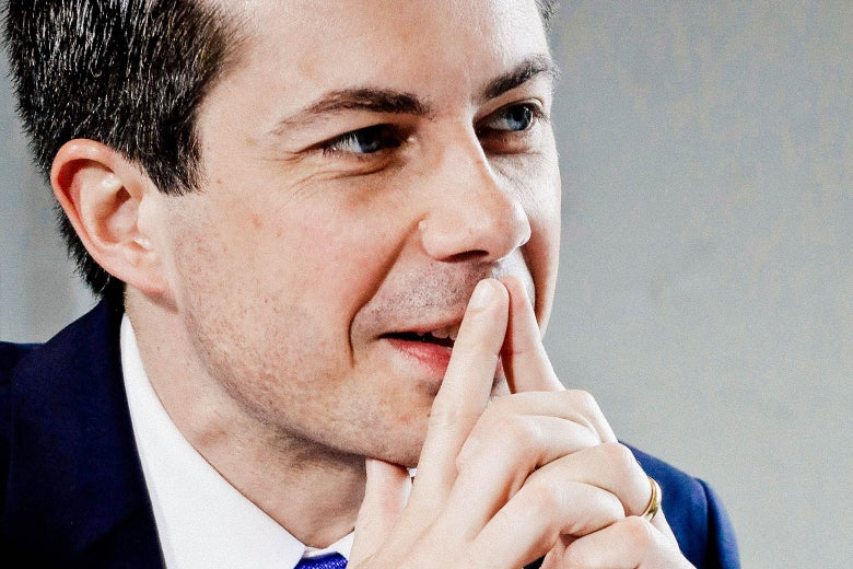Pete Buttigieg holds tented fingers up to his face.