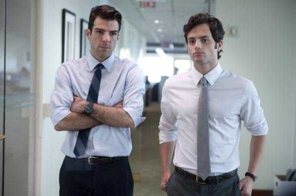 Zachary Quinto and Penn Badgley in Margin Call.