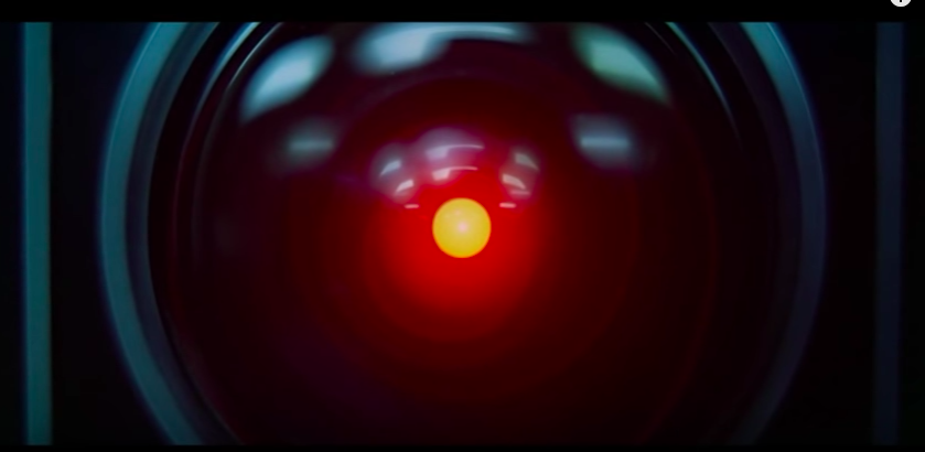 The glowing red eye of HAL 9000 in 2001: A Space Odyssey