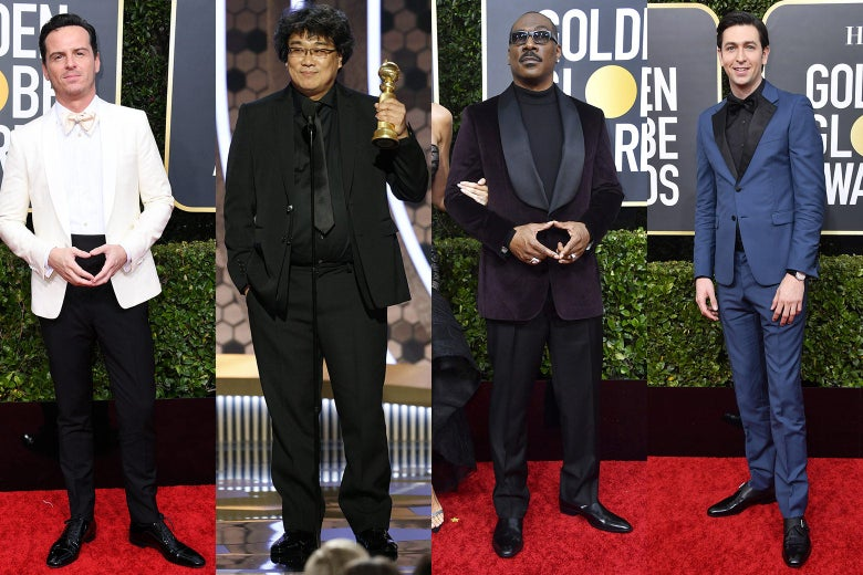 Andrew Scott, Bong Joon-ho, Eddie Murphy, and Nicholas Braun pose on the 2020 Golden Globes red carpet.
