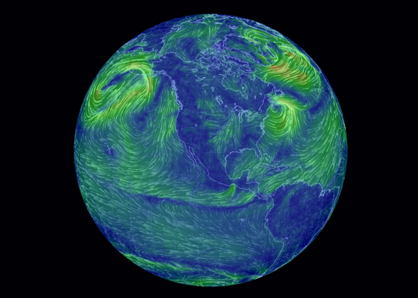"Cameron Beccario's interactive global wind-speed visualization, ""Earth."""