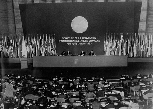 Boutros Boutros-Ghali, secretary-general of the United Nations, presides over the signing of the Chemical Weapons treaty at the UNESCO headquarters in Paris in 1993.