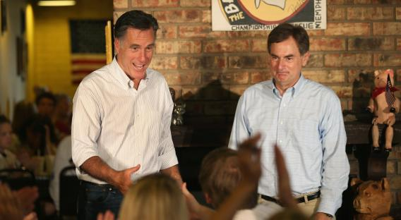 Mitt Romney and U.S. Senate Candidate Richard Mourdock (R) greet supporters at a campaign event at Stepto's Bar B Q Shack on Aug. 4, 2012, in Evansville, Ind.