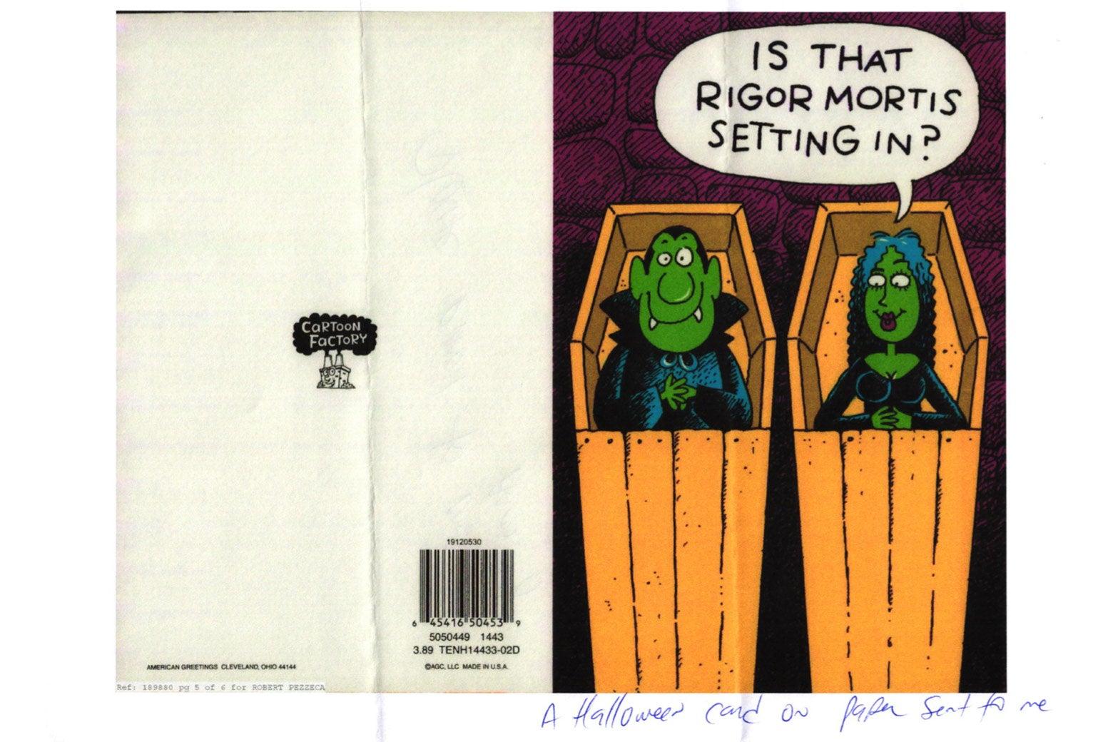 A scanned Halloween card sent to Robert Pezzeca.