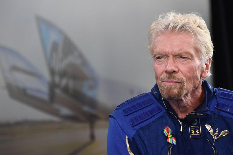 Sir Richard Branson speaks after he flew into space aboard a Virgin Galactic vessel near Truth and Consequences, New Mexico on July 11, 2021.