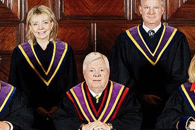 Pennsylvania Supreme Court: Justice Christine Donohue, Chief Justice Thomas G. Saylor, Justices Kevin M. Dougherty and Debra McCloskey Todd. Justices David Wecht, Max Baer, and Sallie Updyke Mundy are not pictured.