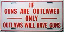 """Licices plate """"If guns are outlawed only outlaws will have guns."""""""