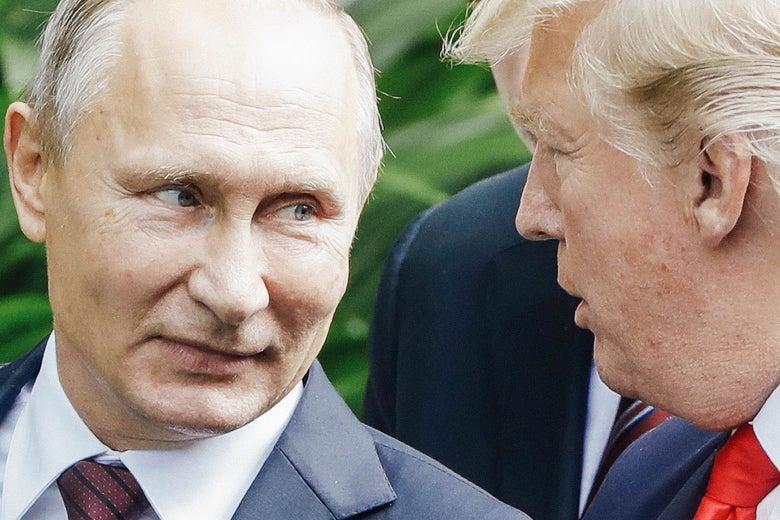 Vladimir Putin talking to Donald Trump.