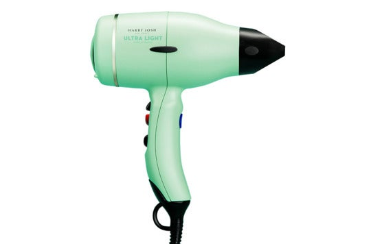 Mint-green Harry Josh hair dryer.