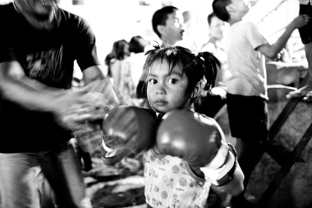 Fanta, 6 years, after winning a boxing match.