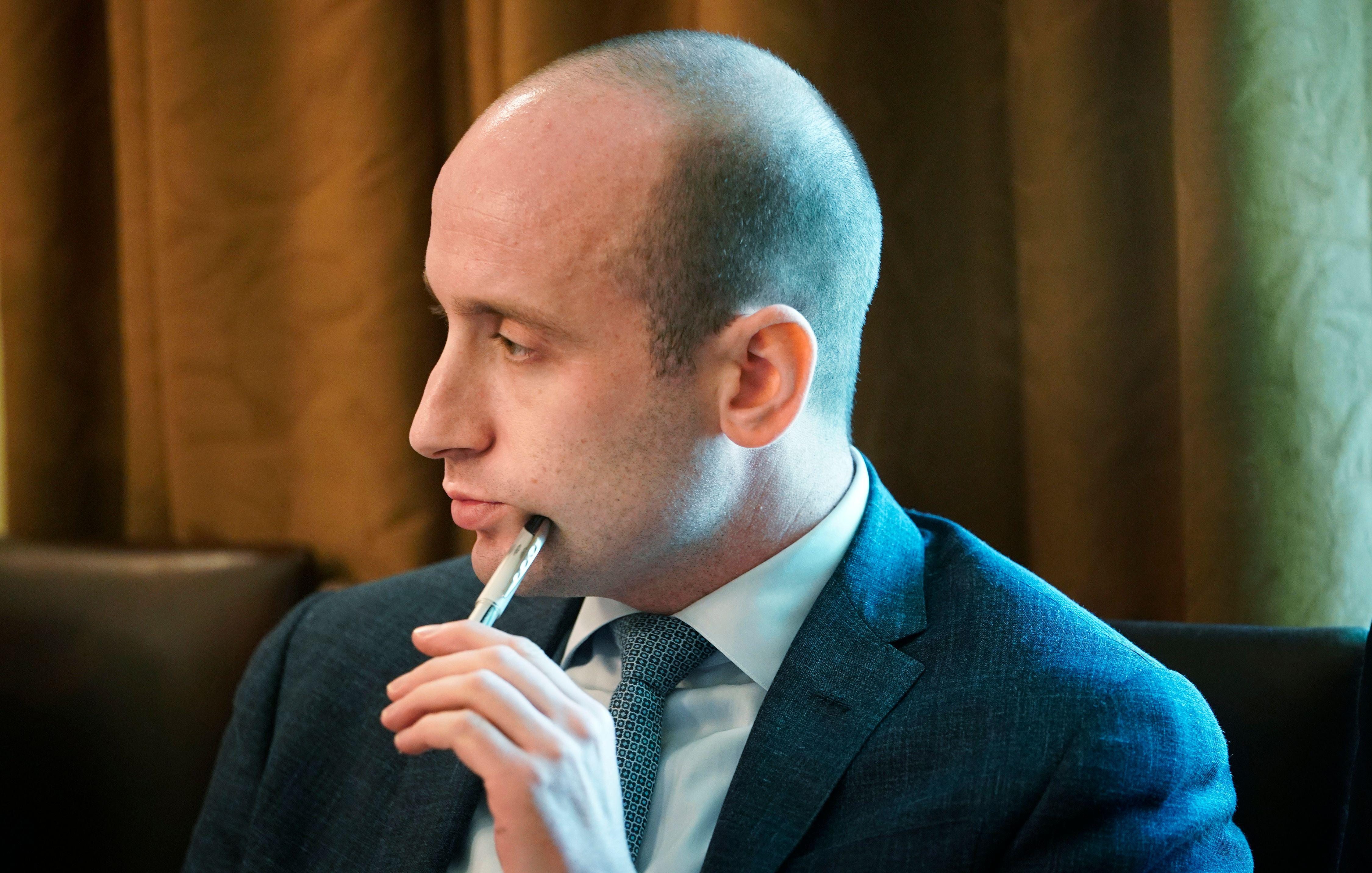 Senior advisor Stephen Miller attends a Cabinet meeting in the Cabinet Room of the White House.