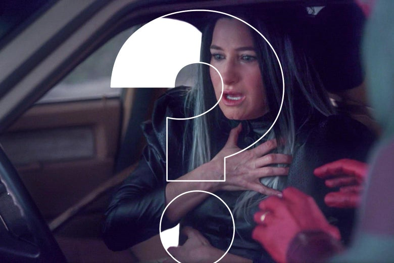 Kathryn Hahn as Agnes sits behind the wheel of a car, clutching her chest. A pair of red hands belonging to an unseen figure outside the car reaches toward Agnes. A large white-outlined question mark is superimposed over the image.