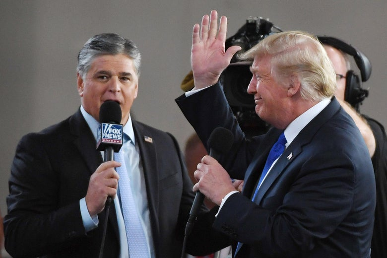 Fox News Channel and radio talk show host Sean Hannity interviews President Donald Trump before a campaign rally at the Las Vegas Convention Center on September 20, 2018 in Las Vegas, Nevada.