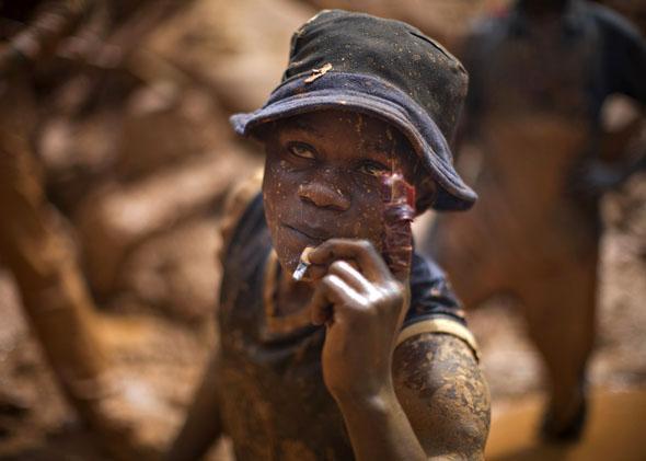 Gold miner in northeastern Congo