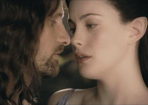 Arwen and Aragorn, both half elf, half human.