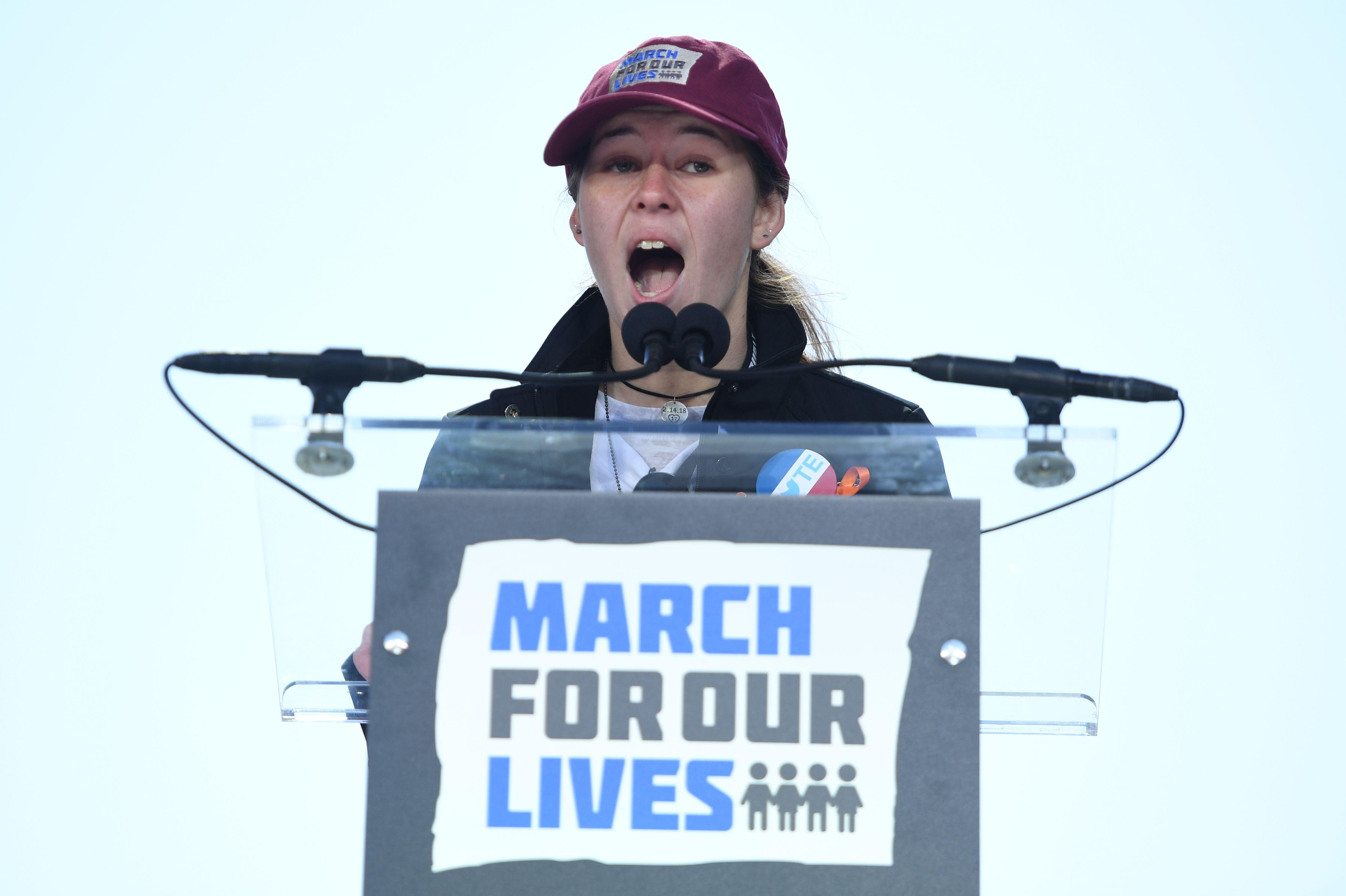 Marjory Stoneman Douglas High School student Sarah Chadwick speaks at the March for Our Lives rally in Washington, D.C. on March 24, 2018.