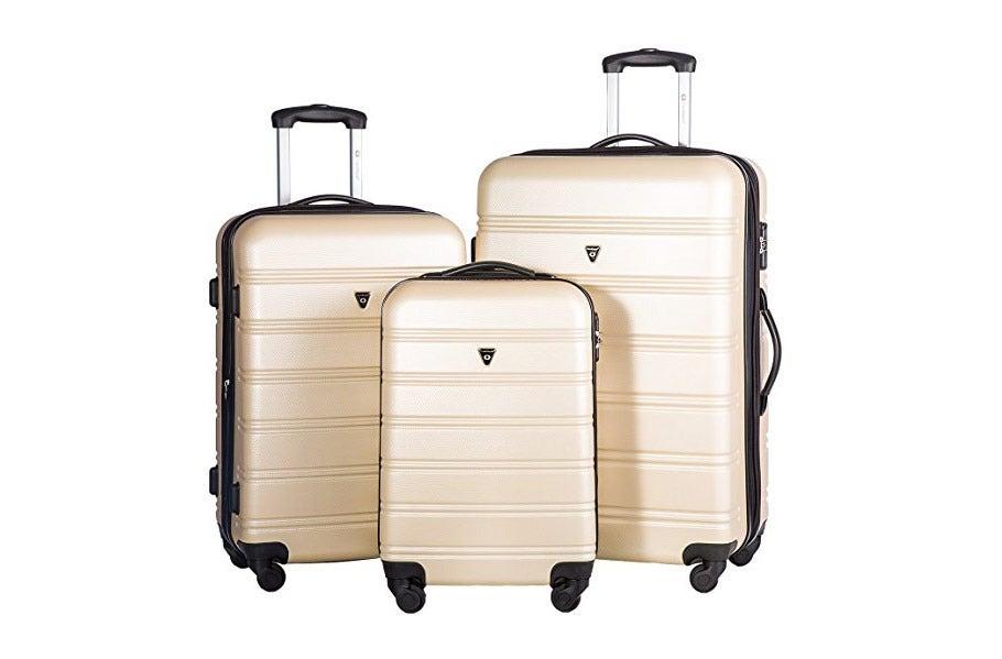 Merax Travelhouse Luggage Set 3 Piece Expandable Lightweight Spinner Suitcase.