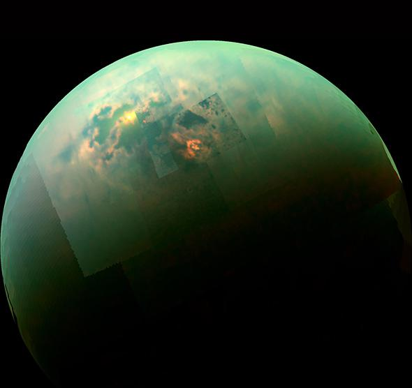 NASA's Cassini spacecraft shows the sun glinting off of Titan's ,NASA's Cassini spacecraft shows the sun glinting off of Titan's north polar seas.