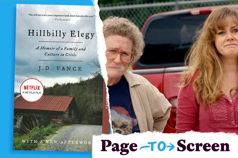 The cover of Hillbilly Elegy and a still of the film with Glenn Close and Amy Adams.