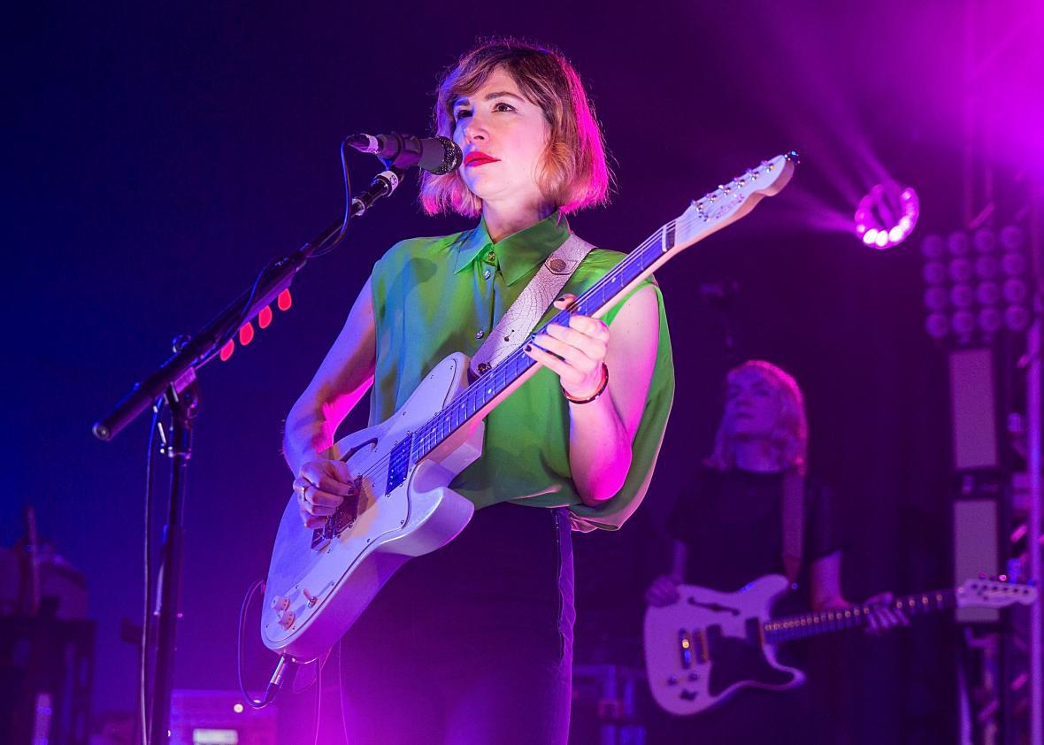 Sleater-Kinney's Carrie Brownstein performs at Stubb's Bar-B-Q on April 17, 2015, in Austin, Texas.