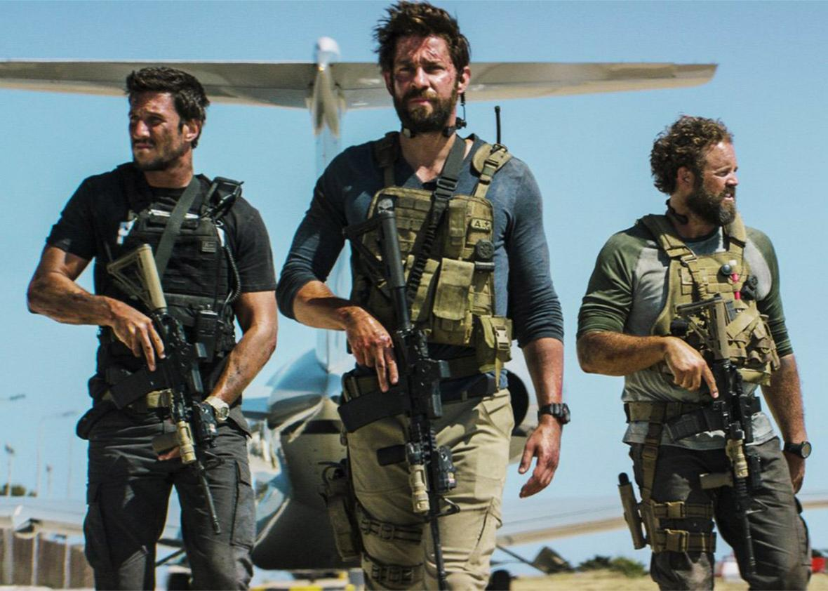 Still of David Denman, John Krasinski, Pablo Schreiber in 13 Hours: The Secret Soldiers of Benghazi.