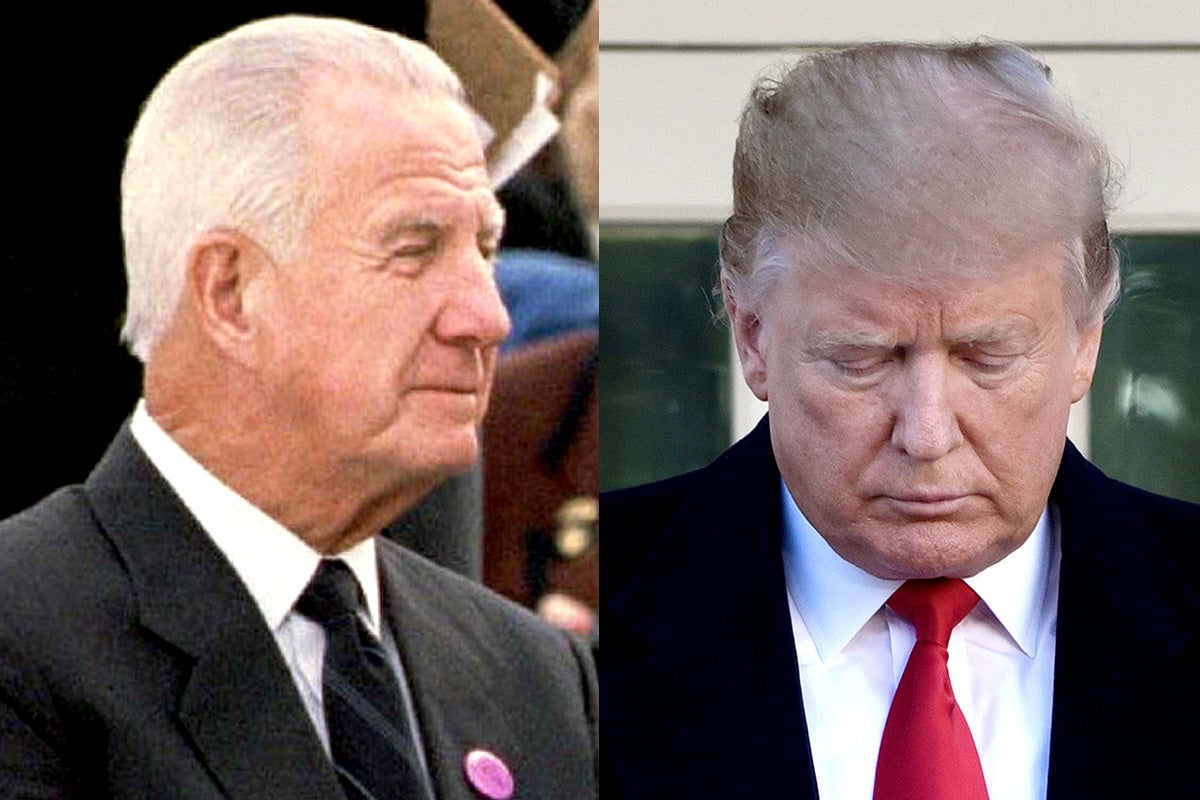 Side-by-side photos of former Vice President Spiro Agnew and President Donald Trump