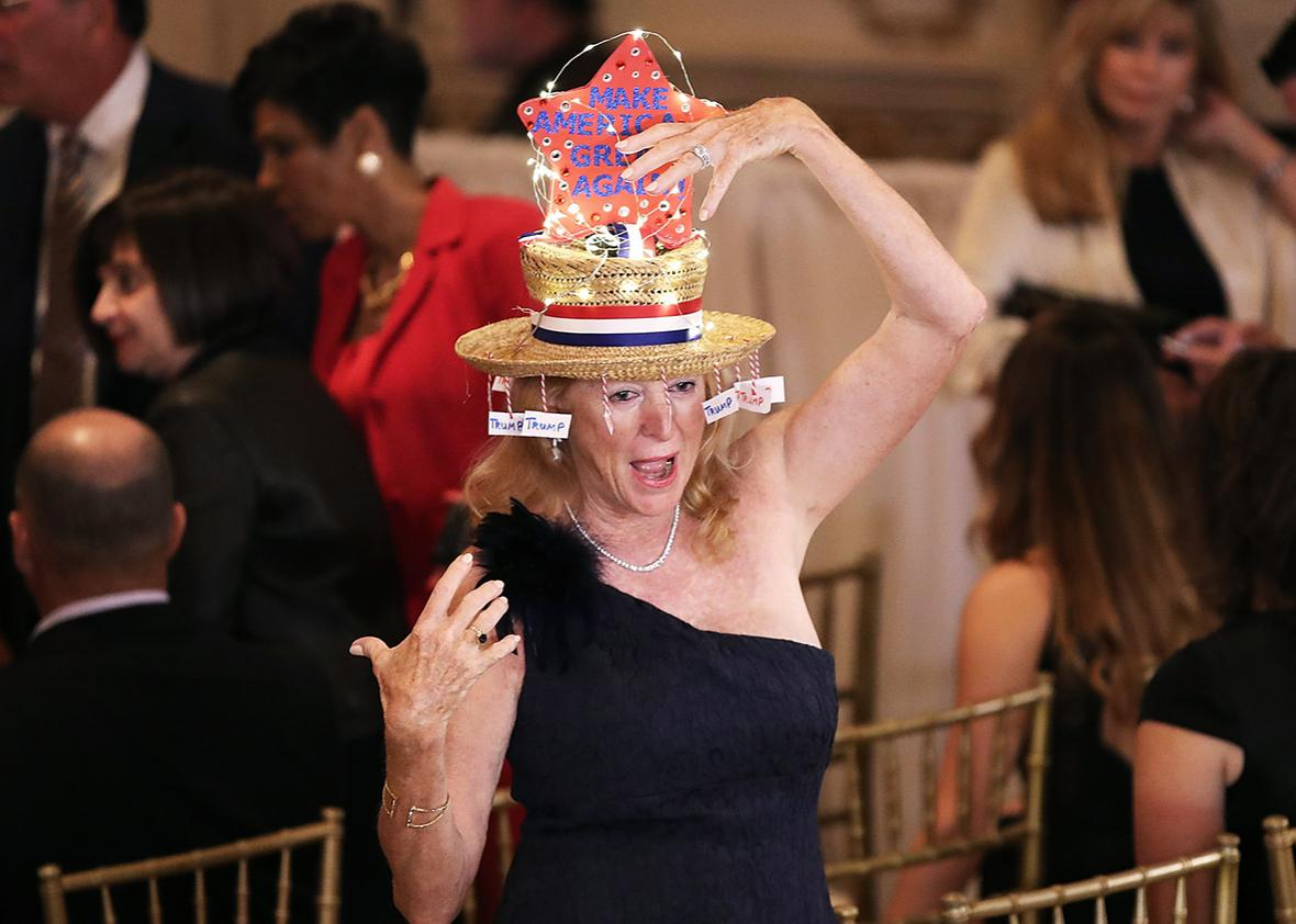 A Spry Trump Supporter At Primary Night Event In Donald S J Ballroom The Mar Lago Club March 15 2016 Palm Beach Florida