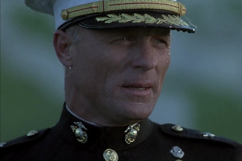 A closeup of Ed Harris, as General Francis X. Hummel, in a still from the Rock. Harris wears Marine dress whites.