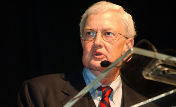 Film critic Roger Ebert speaks during the opening of the Chicago International Film Festival.