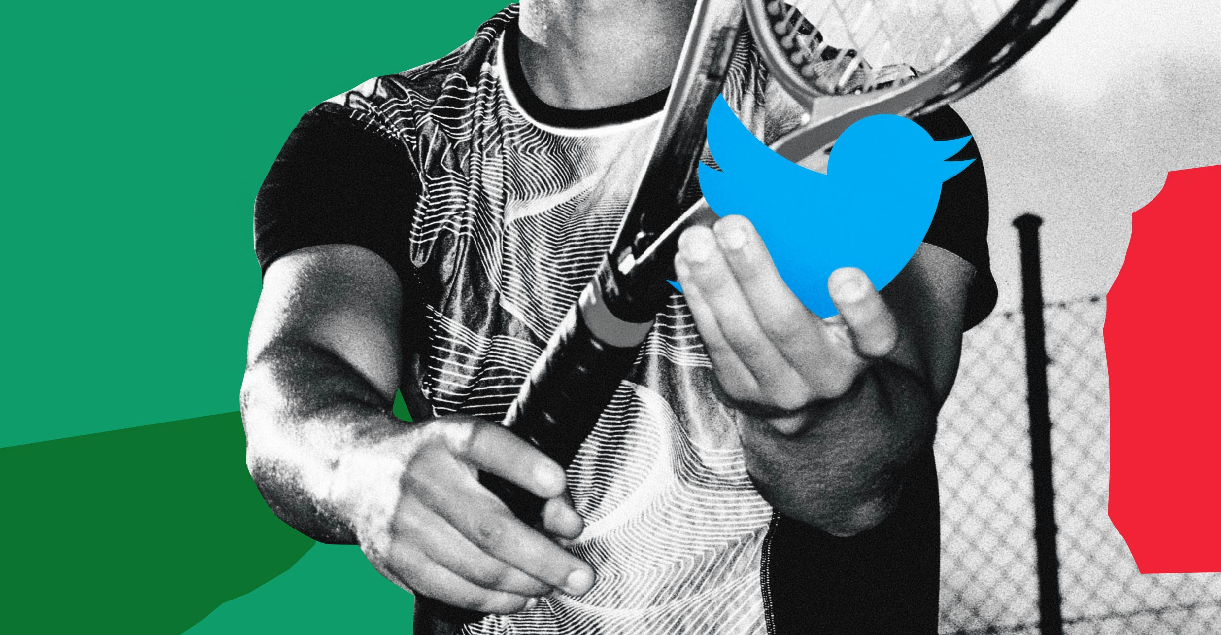 Photo illustration: anonymous tennis player holding a racket and preparing to serve a Twitter bird.