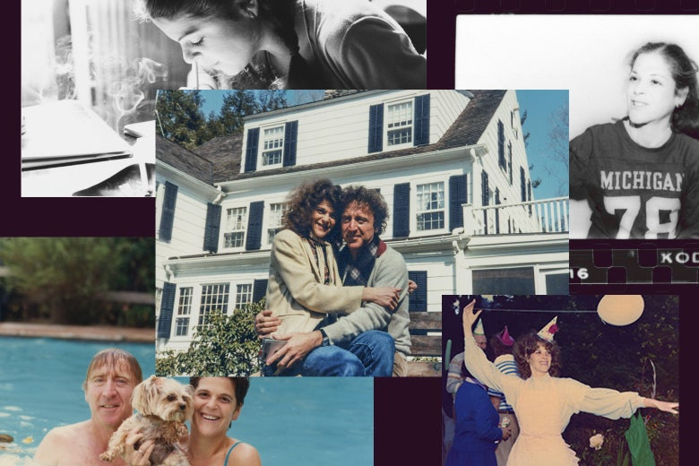 Collage of photos from Gilda Radner's life, including two with her husband Gene Wilder.