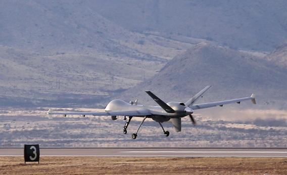 A Predator drone operated by U.S. Office of Air and Marine (OAM), takes off for a surveillance flight near the Mexican border on March 7, 2013.