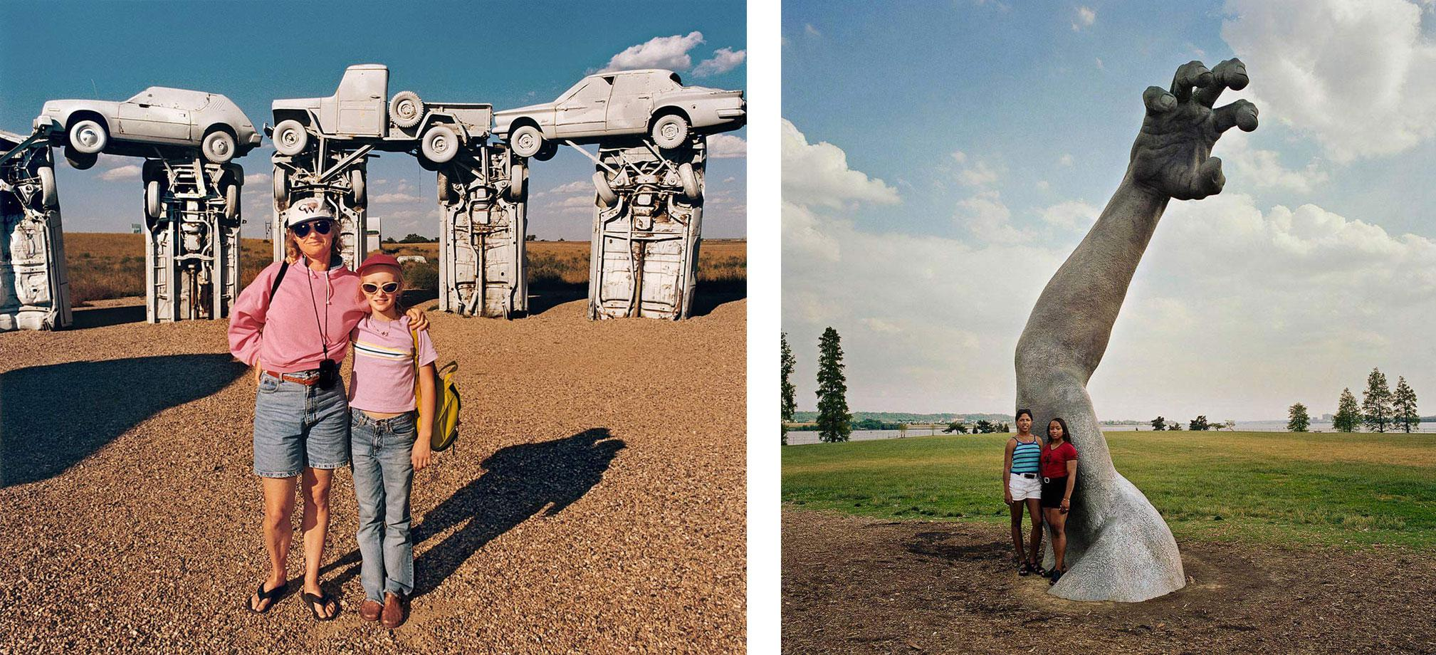 Mother and Daughter at Carhenge, Nebraska 1998 (r) Two Young Women at the Awakening Sculpture, Haynes Point, Washington, D.C. 1991