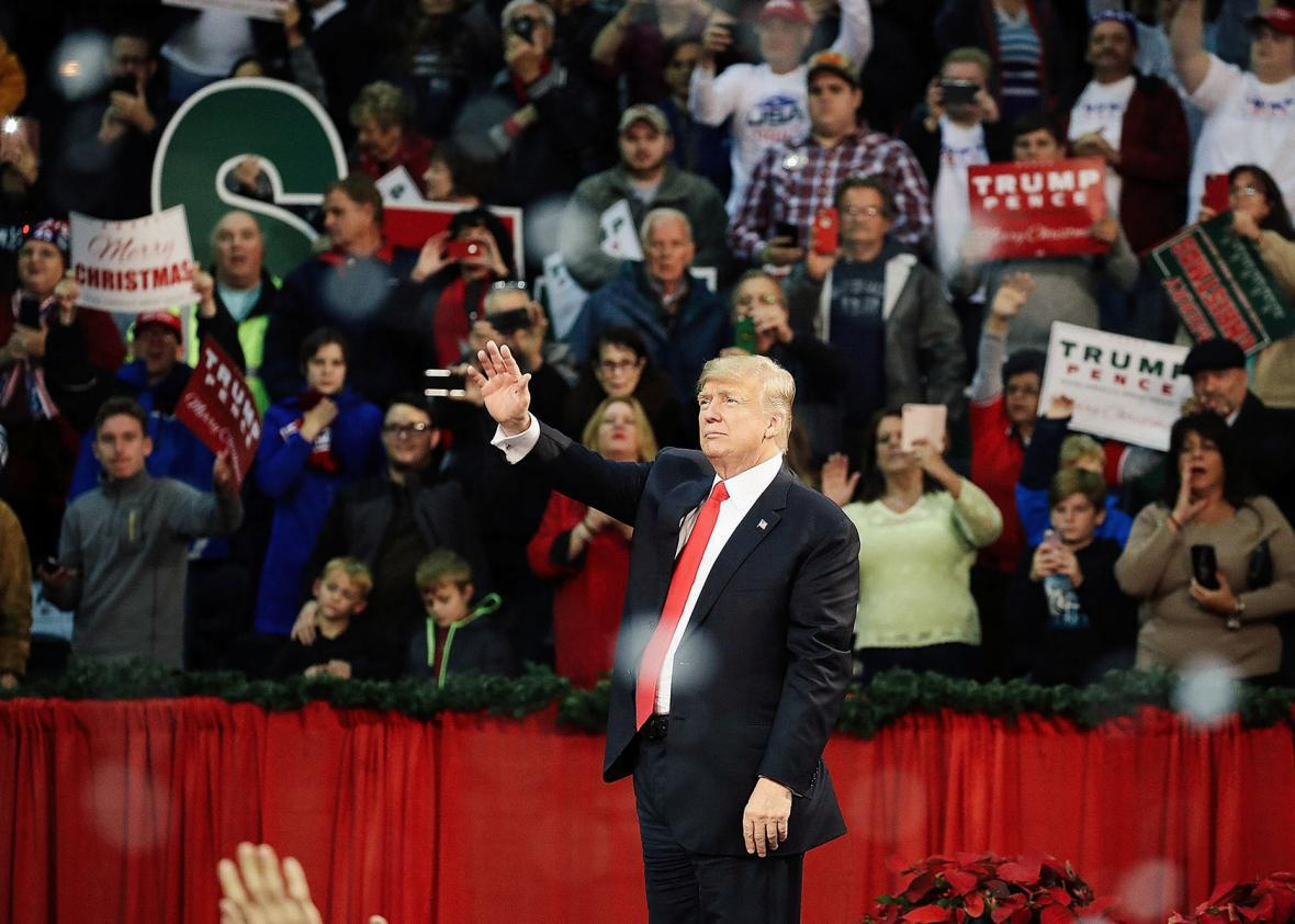 Donald Trump and fans in Pensacola, Florida