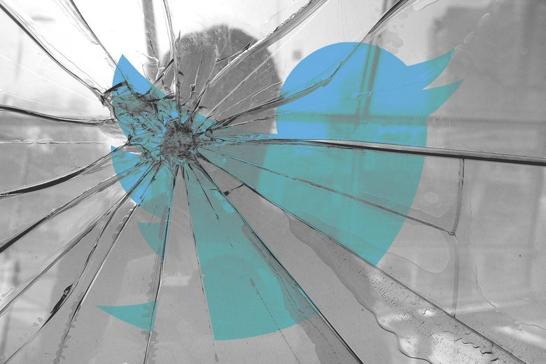 A shadow of a person looking in a shattered mirror with the Twitter logo on it.