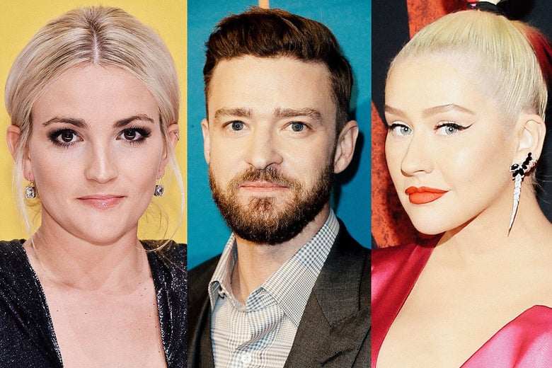 Side by side photos of Jamie Lynn Spears, Justin Timberlake, and Christina Aguilera