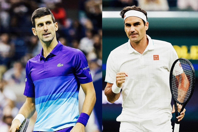 Side by side photos of Djokovic on the court looking to his left and Federer on the court holding his racket and fist-pumping