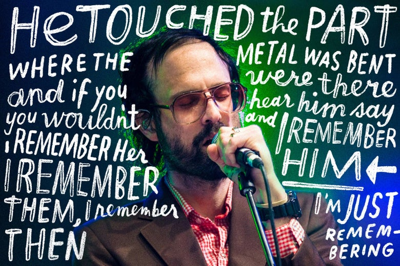 David Berman surrounded by some of his lyrics