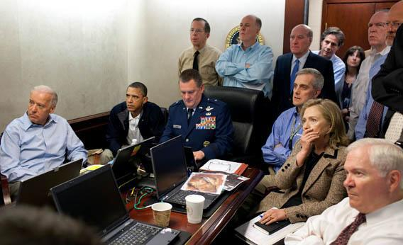 President Obama, Joe Biden, Hillary Clinton and members of the national security team receive an update on the mission against Osama bin Laden.