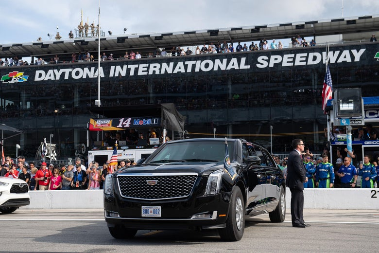 The Presidential limousine, on the track at Daytona.