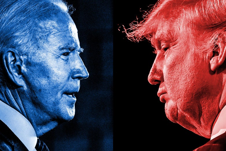Side-by-side photos of Joe Biden, tinted blue, facing Donald Trump, tinted red