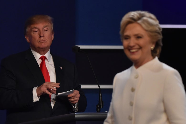 Trump and Clinton at presidential debate